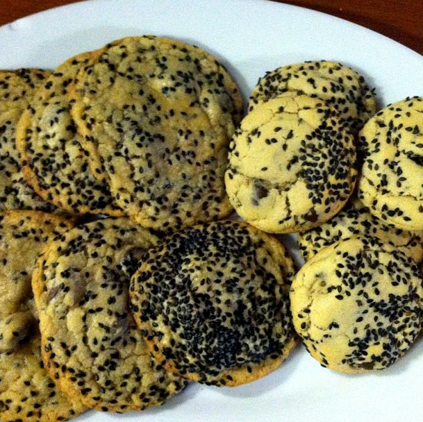 CL Fellow Darcy and I made over one of her favorite cookies: black sesame seeds and chocolate chunks