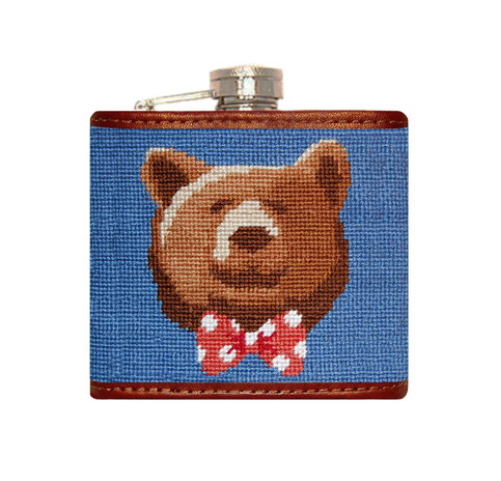 Smathers and Branson FlaskThese needlepoint flasks come is a multitude of designs including collegiate logos, fun patterns, and quirky quotes.