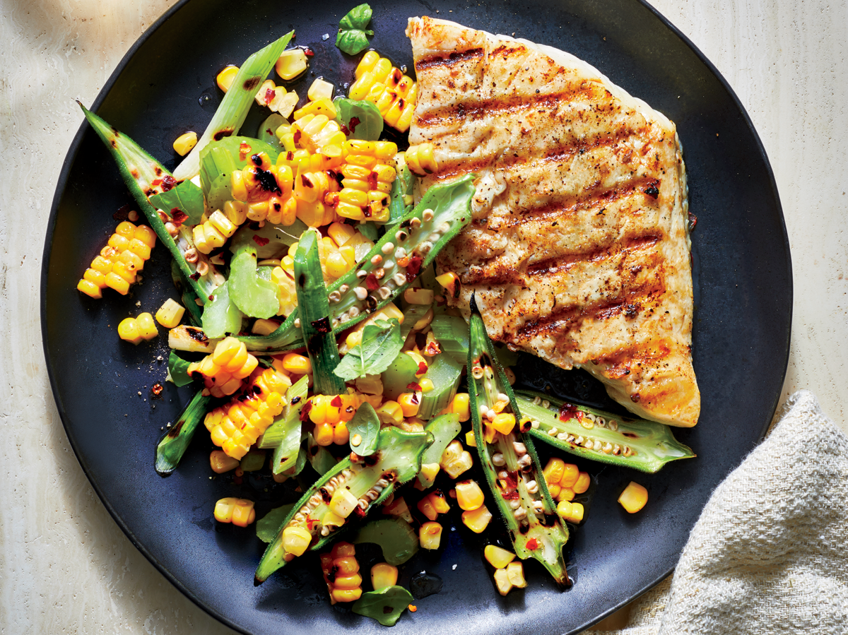 Grilled Snapper With Corn-Okra Relish