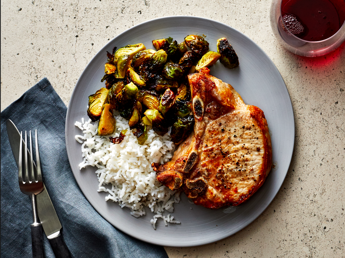 Air Fried Pork Chops With Brussels Sprouts